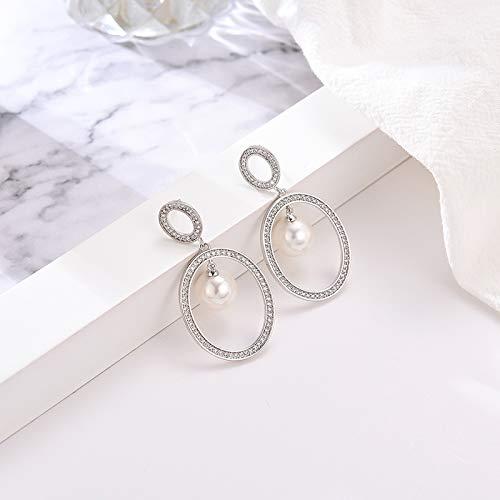 Topdo Stud Earringss Ring Pearl Pendant Swinging Earringss Simple Jewelry Gift for Women Girl 1 Pair