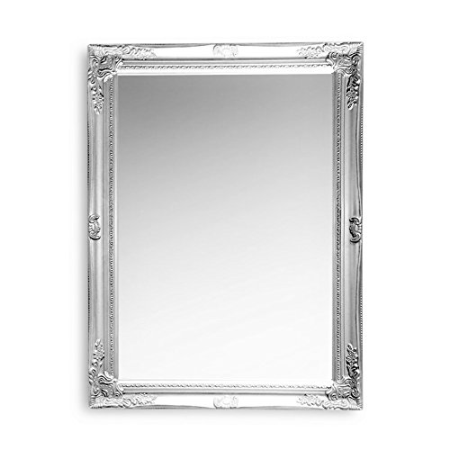 he French Country Style Rustic Silver Framed Mirror, Hand Crafted, Sustainable Wood, Rectangular Frame With Bevel, Florals and Bead Edge, Brilliant Glass, 24 3/8 L x 32 ¼