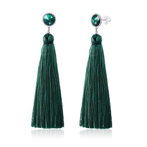 CRYSLOVE Tassel Earrings for Women- 925 Sterling Silver Earrings with Bohemian Dangle Drop Earring Stud Earrings, Vintage Silk Thread Fringe Tassel Earrings Gift for Women Girls (Dark green)