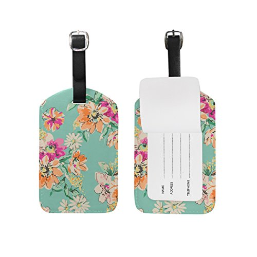 - Cooper girl Watercolor Floral Flowers Luggage Tag Travel ID Label Leather for Baggage Suitcase 1 Piece