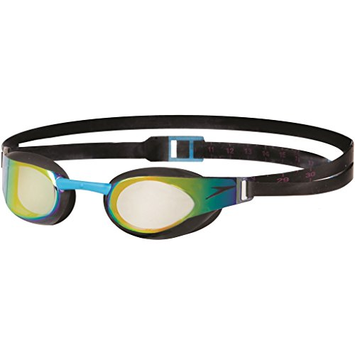 Speedo Schwimmbrille Fastskin Elite Goggles Mirror Junior, Black/Gold, One Size, 8-092897054ONESIZE