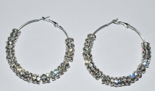 Rhinestone Bling Hoops Silver Earrings Basketball Wives 2'' - E39