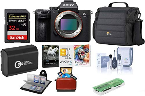 Sony Alpha a7 III 24MP UHD 4K Mirrorless Digital Camera (Body Only) – Bundle 32GB SDHC U3 Card, Camera Case, Spare Battery, Cleaning Kit, Memory Wallet, Card Reader, Mac Software Package