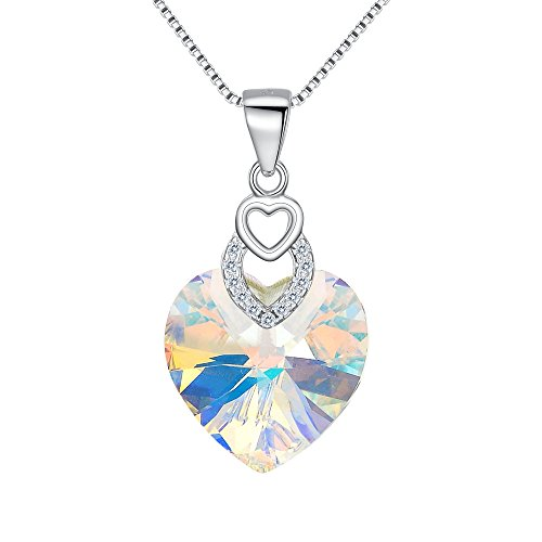FANZE 925 Sterling Silver 3 Heart of the Ocean Gorgeous Pendant Necklace Made with Swarovski Crystal Clear AB (Ab Swarovski Crystal Heart Pendant)