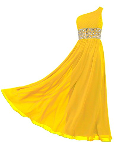 ANTS Women's Chiffon One Shoulder Prom Dresses Long Evening Gowns Size 24W US Deep Yellow