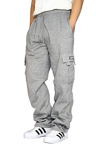 DREAM USA Men's Heavyweight Fleece Cargo Sweatpants, Grey, XX-Large