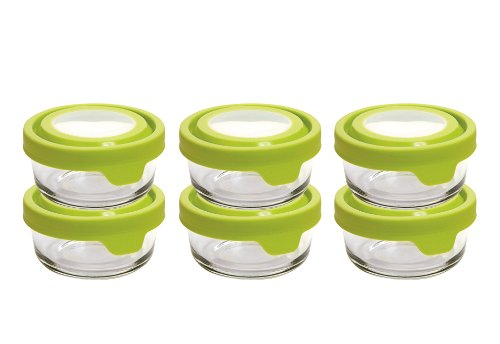 Anchor Hocking TrueSeal Glass Food Storage Containers with Airtight Lids, Green, 1 Cup (Set of 6)