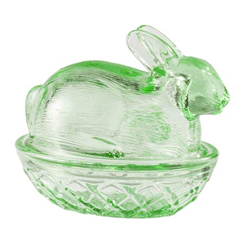 (William Roberts Glass Bunny Candy Dish, Green, 2 Piece)