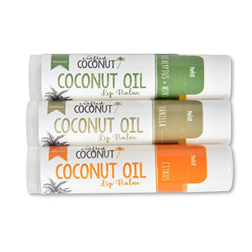 Oil Lip Balm - The Crafted Coconut - Organic Coconut Oil Lip Balm | Blended with Essential Oils - Eucalyptus + Mint, Vanilla, Citrus | Trio (3 Tubes in Pack)