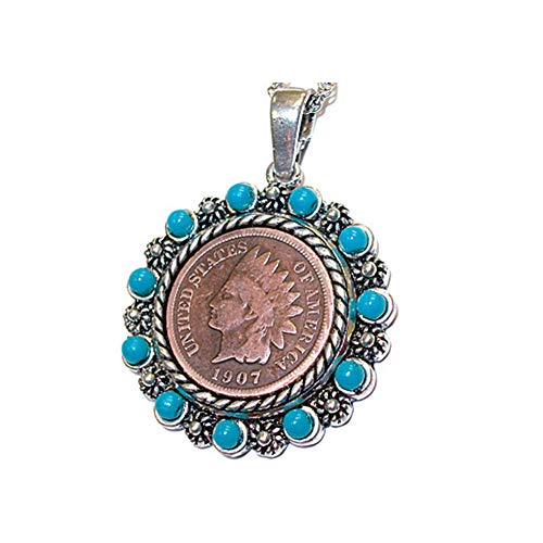 (UPM GLOBAL Indian Head Penny Native American Pendant Necklace w/ 24