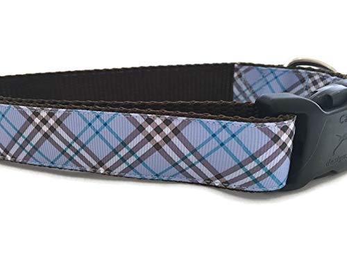 Plaid Dog Collar, Caninedesign, Pink, Blue, 1 inch Wide, Adjustable, Nylon, Medium and Large (Blue, Medium 13-19