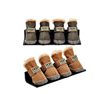 4Pcs/Set Puppy Velcro Waterproof PU Leather Shoes Pet Dog Anti-Slip Warm Protective Boots (color: Brown,size: M)