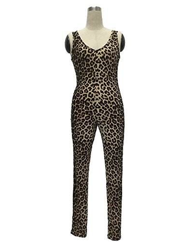 Women's Sleeveless Leopard Prints O-Neck Backless Casual Jumpsuits Pants (M)