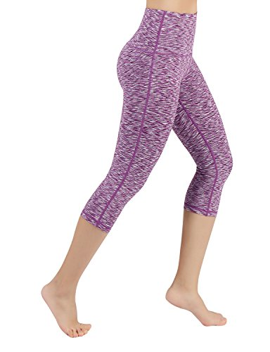 ODODOS Power Flex High-Waist Yoga Capris Tummy Control Workout Running Pant with Hidden Pocket,SpaceDyePurple,Large