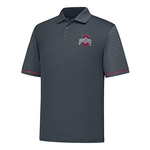 - J America NCAA Ohio State Buckeyes Men's Linebacker Ii YB Dyed Color Bock Polo Shirt, X-Large, Charcoal/Red