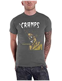 The Cramps T Shirt Bad Music for Bad People Band Logo New Official Vintage Wash Grey
