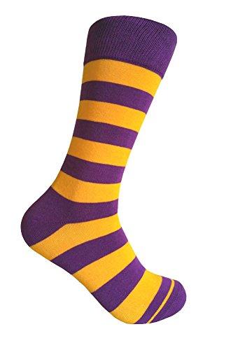 Men's Groomsmen Wedding|Party Events|Gala Collection Stripe Dress socks,Purple/Gold Yellow]()