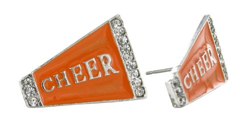 Flat Cheer Megaphone Rhinestone Stud Earrings - Orange Enamel with Clear Crystals ()