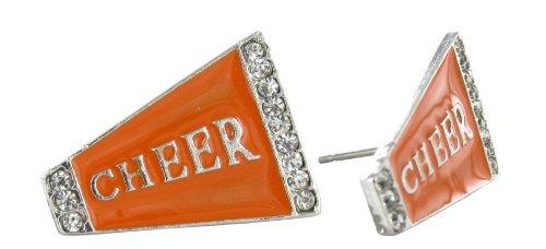 Flat Cheer Megaphone Rhinestone Stud Earrings - Orange Enamel with Clear Crystals