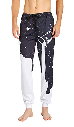 Leapparel Men/Women 3D Printed Casual Sports Jogger Track Pants Galaxy Graphric Baggy Sweatpants with Drawstring (L, Milk)