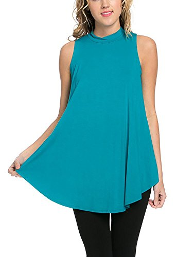 Solid Long Flowy Tank T-Shirt Tunic Jade
