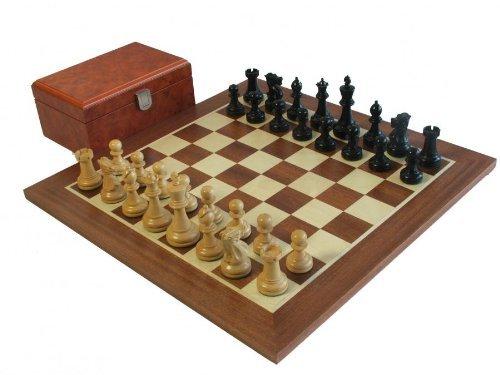 Executive Staunton Ebonised Chess Pieces, Mahogany Chess Board & Burl Chess Box by ChessMaze - Burl Mahogany