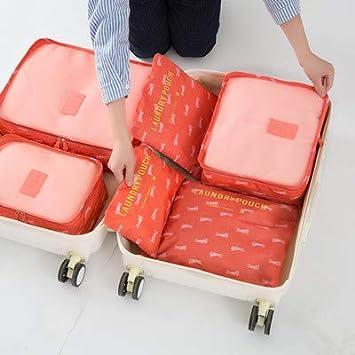 e7b0f8fe1e57 Amazon.com : Saasiiyo 6Pcs Travel Bags Set Portable Packing Cube ...