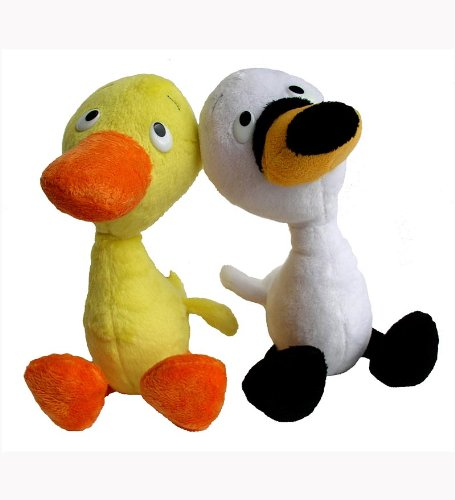MerryMakers Duck & Goose Plush Doll Pair, 9-Inch (Doll Duck)