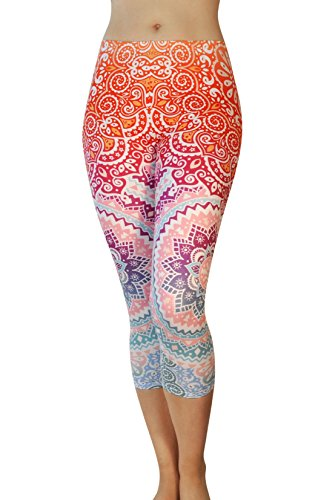 Comfy Yoga Pants   Dry Fit   Slimming Mid Rise Cut   Printed Yoga Leggings  Capri Mandala Dream