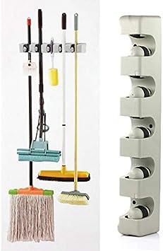 Kitchen Brush Broom Mops Hanger Organizer Wall Mounted Shelf Storage Holder Rack