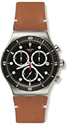 Swatch Disorderly Chronograph Black Dial Tan Leather Mens Watch YVS424