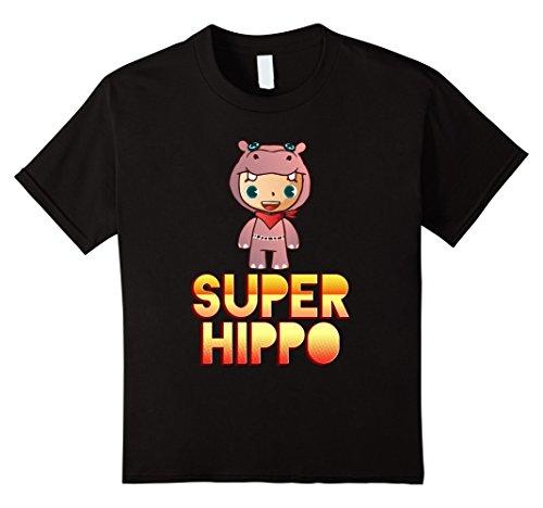 [Kids Super Hippo Mascot! Hippopotamus Lover T-Shirt 4 Black] (Hippo Mascot Costume)