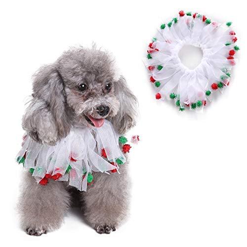 Dora Bridal Charming Party Collar Christmas Smoocher Dog Kissable Bells Pet Party Collar - Christmas Fuzzy Pom Poms Halloween Decorative Dog Collars Bells White
