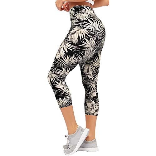 CAMPSNAIL Plus Size High Waisted Leggings for Women Yoga Pants Seamless Capri Leggings Compression Workout Printed Leggings