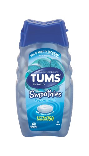(Tums Smooth Dissolve Extra Strength Antacid Tablets, Peppermint, 60-Count Bottles (Pack of 4))