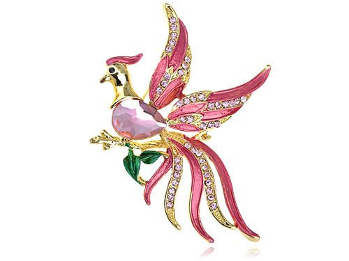 Alilang Stunning Pink Beaded Flying Bird Crystal Phoenix Rhinestone Brooch Pin