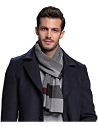 Men's Winter Cashmere Feel Australian Wool Soft Warm Knitted Scarf with Gift Box