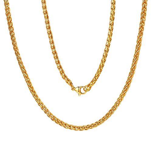 Wheat Chain for Men Jewelry 3mm 18 inch 18K Gold Plated Necklace