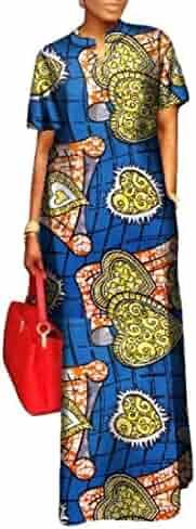 d2cc77e6ae7 Winwinus Women s Wrap Dashiki African Print Plus Size Evening Gown Maxi  Dress
