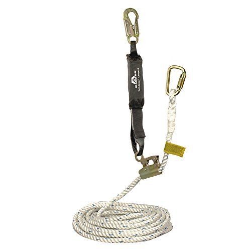 Madaco Roof Construction Fall Protection Heavy Duty Industrial Safety 50FT 3-Strand Polypropylene Rope Internal Shock Absorbing Pack Snap Hook Grab Kit ANSI OSHA L-RG-50S