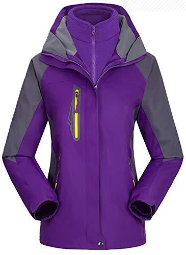 AbelWay Women's Mountain Waterproof Windproof Fleece 3 in 1 Jacket Ski Hooded Rain Coat(Purple,L)