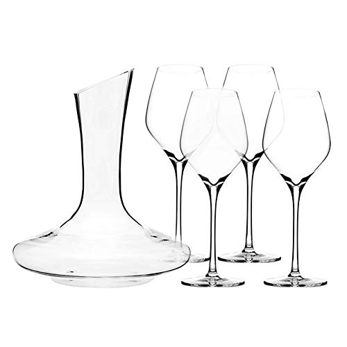 (Triangle 5-piece Wine Decanter Set with Glasses, Hand Blown Lead Free Crystal Wine Glasses Set of 4 and Red Wine Decanter Aerator, Dishwasher Safe)
