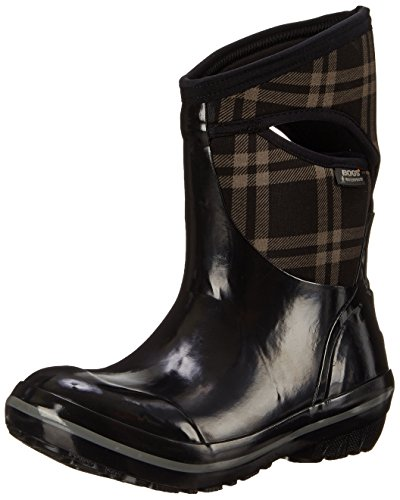 Bogs Women's Plimsoll Plaid Mid Winter Snow Boot - Black ...