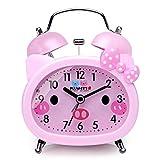 Plumeet - Reloj despertador de doble campana para niños, silencioso, con diseño de dibujos animados, de cuarzo, para niñas, lindo, tamaño de mano, retroiluminación, funciona con pilas, Moderno, rosado1, Pequeño, 1
