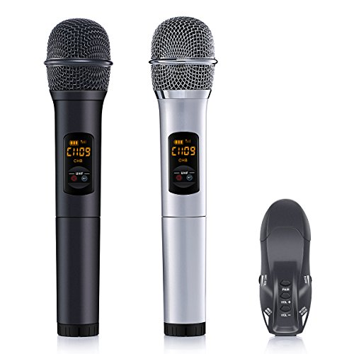 ELEGIANT UHF Wireless Microphone System, Portable Dual Channel Bluetooth Receiver Professional Karaoke Singing Machine for Outdoor Wedding, Conference, Home KTV, Evening Party, Speech, (Set Digital Temperature Control System)