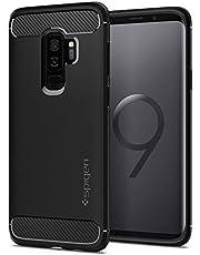 غطاء / غطاء حماية صلب لهاتف Samsung Galaxy S9 PLUS من Spigen - أسود غير لامع مع نسيج من ألياف الكربون S9+