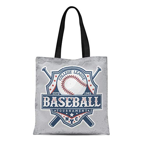 Canvas Bronx Shoe (Semtomn Canvas Tote Bag Jersey Creative Vintage Graphic Grange Stamp Baseball Emblem Sports Durable Reusable Shopping Shoulder Grocery Bag)