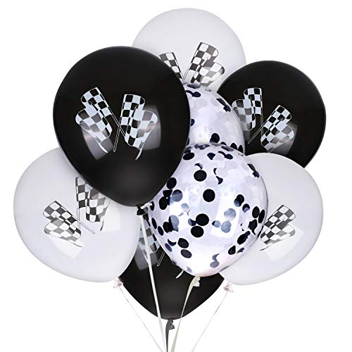 Race Car Latex Balloons and Confetti Balloon 12 Inches Checkered Racing Cars Flag Theme Black & White Balloon Birthday Party Race Car Party Supplies Decorations Motorcross 30 Pack]()
