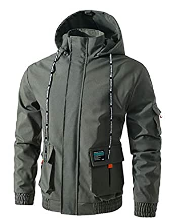 Jueshanzj Men's Zipper Jacket with Hooded L ArmyGreen