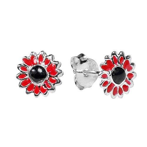 Petite Red Sunflower .925 Sterling Silver Stud Earrings